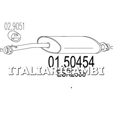 1 SILENZIATORE CENTRALE MTS LAND ROVER