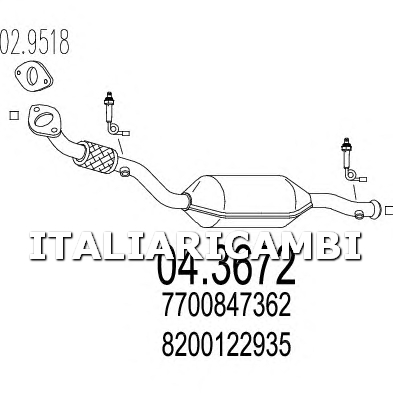 1 CATALIZZATORE MTS NISSAN, RENAULT