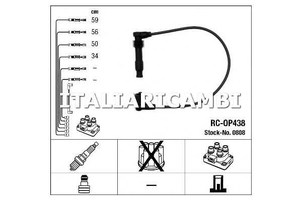 1 KIT CAVI ACCENSIONE NGK OPEL